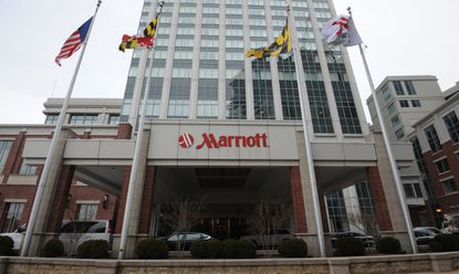 Marriott International flags fly on numerous Baltimore-area hotels including the Baltimore Marriott Waterfront.
