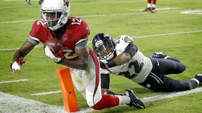 Arizona Cardinals wide receiver John Brown (12) beats Ravens cornerback Jimmy Smith for a touchdown during the second half Oct. 26, 2015, in Glendale.