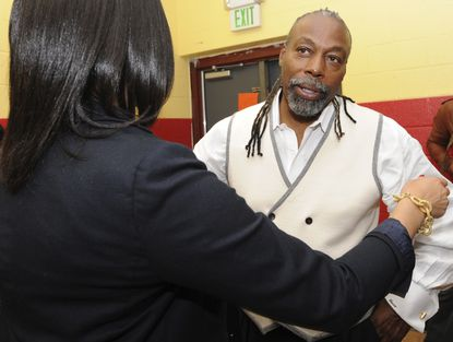 Political consultant Julius Henson, is president of the Berea Eastside Neighborhood Association, Inc., one of the most influential in Baltimore. Having emerged from jail last year on a conviction in an election fraud case, he is running to unseat long-time State Sen. McFadden, who was also at the meeting.