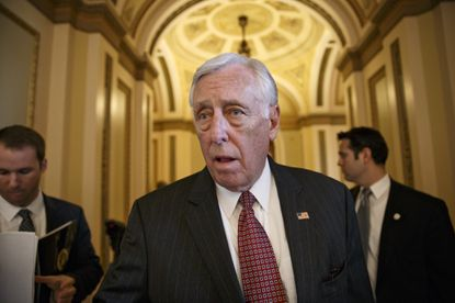 FILE - In this Feb. 27, 2015, file photo House Minority Whip Steny Hoyer, D-Md. speaks on Capitol Hill in Washington. Determined to secure support for the Iran nuclear deal, President Barack Obama is making inroads with a tough constituency _ his fellow Democrats in Congress. (AP Photo/J. Scott Applewhite, File) ORG XMIT: WX201