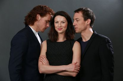"The cast of ""Outlander,"" Sam Heughan, left, Caitriona Balfe and Tobias Menzies, imbue their characters with a three-dimensional depth."