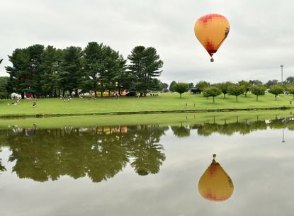 A balloon is tethered at the first Carroll County Balloon Festival, presented by the Friendship Hot Air Balloon Co.