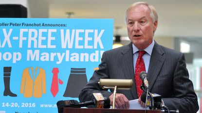 State Comptroller Peter Franchot announced the start of a tax-free retail week in 2016 during a visit to Mondawmin Mall in Baltimore.
