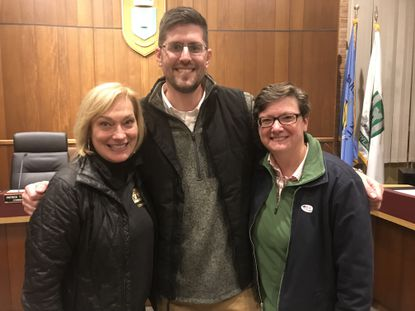 Donna Kahoe, left, Kevin Bianca, center, and Erin Hughes were the top three vote-getters Tuesday to earn seats on the Bel Air Board of Town Commissioners.