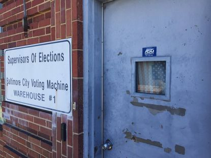 Ballots from Baltimore's decertified primary election were being reviewed by officials in this West Baltimore warehouse on Monday.