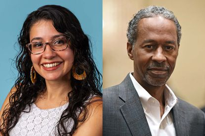 Two candidates for Baltimore City Council in District 12 are Franca Muller Paz of the Green Party, on left, and Democrat Robert Stokes, on right.