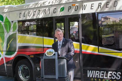 Howard County Executive Allan Kittleman at the unveiling of the county's three new electric buses.