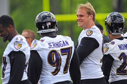 Brent Urban (without helmet) participated in last year's rookie minicamp but was injured in training camp.