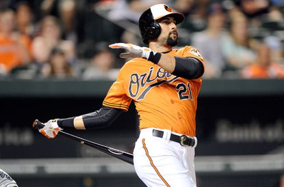 Nick Markakis has batted .341 with 10 doubles, 2 triples, 5 home runs, 19 RBIs in 39 games as a leadoff hitter.