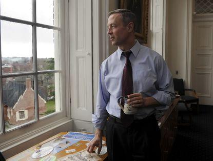 Gov. Martin O'Malley in his office in Annapolis.