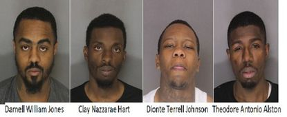 """Darnell Williams Jones, Clay Nazzarae Hart Jr., Dionte Terrell Johnson and Theodore Antonio Alston were arrested by Baltimore County Police and charged with attempted murder in connection to what police called a """"targeted"""" shooting on March 8 in Lansdowne."""
