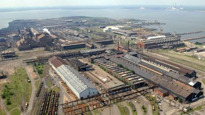 Aerial of Sparrows Point steel mill, which is about to be acquired by a redevelopment firm and a liquidation company.