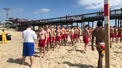 Rookie lifeguards line up during a training on Saturday, the first day of the summer season – and the first day of beach patrols – in Ocean City.