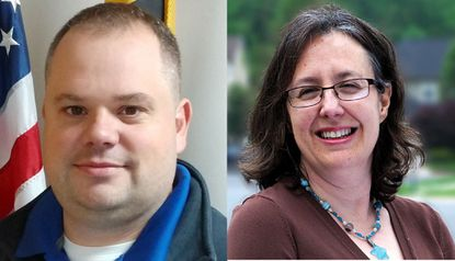 Incumbent Republican Joe Woods, left, is challenged by Democrat Susan Oshinsky, right, for the Harford County Council's District B seat representing Fallston and Abingdon.