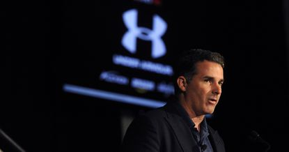 Kevin Plank, CEO of Under Armour, makes his presentation at an Under Armour shareholders meeting.
