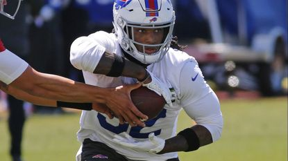 Bills running back Senorise Perry gets a handoff during a practice on May 21, 2019, in Orchard Park N.Y.