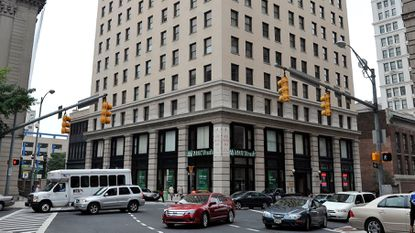Baltimore, Md -- The Munsey Building, an 18-story apartment tower, is at the corner of Calvert and Fayette streets downtown.