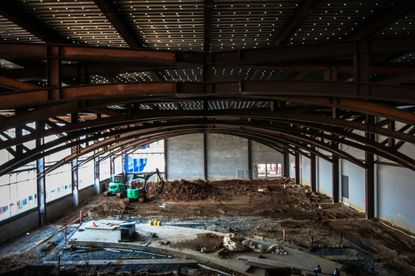 A view of the construction at the site of the new Cole Field House at Maryland.