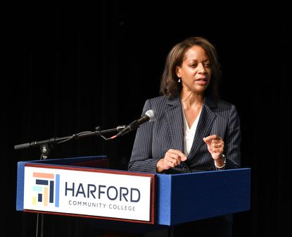Harford Community College President candidate Theresa B. Felder offers her vision for the college during her time on stage for the community forum at the Chesapeake Center. On Friday, the college's Board of Trustees named Felder the 10th president of the college.