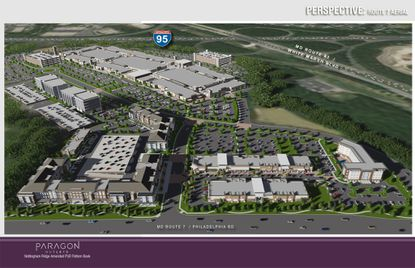 This birdseye perspective depicts the proposed overall development of Paragon Outlets Nottingham Ridge, White Marsh. It shows the outlet mall, two office buildings, parking decks, and along Route 7, apartments, retail and a hotel.
