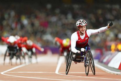 Tatyana McFadden celebrates as she wins gold in the women's 800-meter T54 final on Sept. 5 at the 2012 London Paralympic Games.