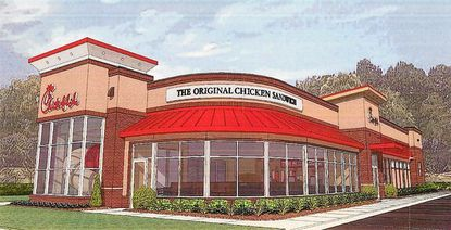 Rendering of the Chick-fil-A restaurant in Eldersburg, proposed for a 1.56-acre tract on the west side of Route 32, north of Liberty Road.
