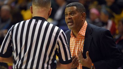 Morgan State coach Todd Bozeman with an official during a 2015 game at Towson.