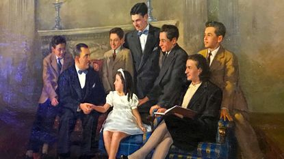 """Painted in 1947 and signed """"Brownson,"""" the D'Alesandro family portrait shows Nancy Pelosi, center, surrounded by her parents and brothers."""