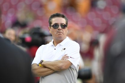 Washington Redskins owner watches as the team warms up before the start of an NFL preseason football game against the Baltimore Ravens at FedEx Field in Landover, Md., Thursday, Aug. 29, 2019. (AP Photo/Susan Walsh)