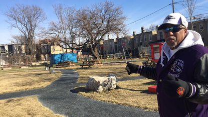 "Marvin ""Doc"" Cheatham visits the Easterwood/Sandtown Park and Playground on McKean Avenue in West Baltimore."