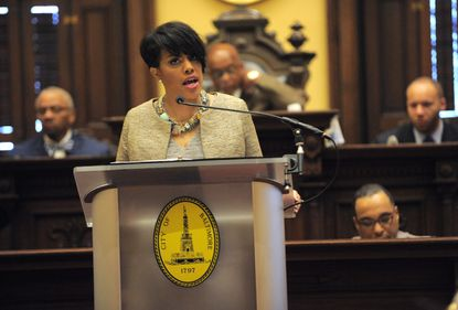 Baltimore,MD--3/9/15- Baltimore Mayor Stephanie Rawlings-Blake and the annual State of the City address held at City Hall. Lloyd Fox/Sun Photographer #7862