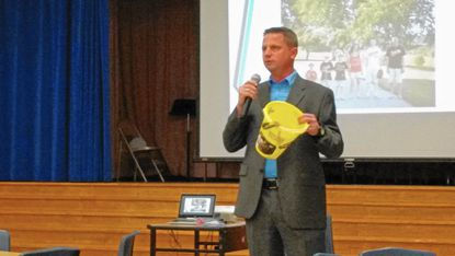 Hillcrest principal Douglas Elmendorf talks to parents and community members during a town hall meeting at the school in Catonsville on Aug. 18.