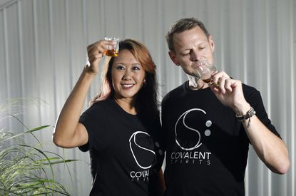 Carroll Biz Challenge finalists Jennifer Yang and Drew Cockley of Covalent Spirits are developing a nano distillery with a tasting room and event space in downtown Westminster.
