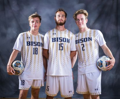 From left, Elan Markel, Alton Markel and AJ Markel played together on the soccer team for Gallaudet University this season. AJ and Elan are brothers and Alton is their cousin.