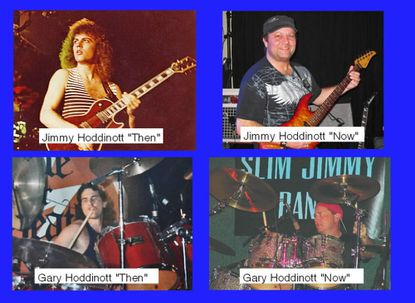 Jimmy Hoddinott and Gary Hoddinott, the way they looked back in the 1980's playing music in nightclubs (photos on left side), and the way they look now, still playing music! (photos on right side)
