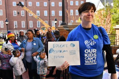 Wendy Muher of Baltimore City, who has attended education funding rallies for nine years in a row, says education reform is needed now. She joined hundreds of supporters on Kirwan Day, to push for the Kirwan Commission education funding legislation.
