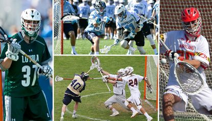Clockwise from top, the goalies for the teams in the NCAA men's lacrosse semifinals: Loyola Maryland's Jacob Stover, North Carolina's Brian Balkam, Maryland's Kyle Bernlohr and Brown's Jack Kelly.