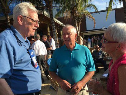 Democratic Sen. James Rosapepe (left) chats with Republicans David Craig, the former Harford County Executive, and Sen. Addie Eckardt at Republican senators' reception in Ocean City.