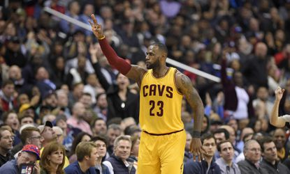 Cavaliers forward LeBron James gestures after he scored a 3-pointer during the second half Monday, Feb. 6, 2017, in Washington. The Cavaliers won, 140-135, in overtime.