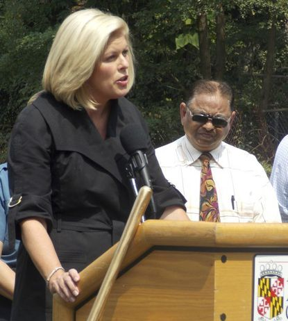 Laura Neuman speaks at the groundbreaking of the new Eastern District police station in August of 2013. Ms. Neuman was selected by the Anne Arundel County Council to replace John R. Leopold as county executive in February. She ran unsuccessfully for a full term in 2014.