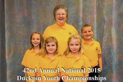 The Greenmount Bowl team of, from left, Ashley Frey, Kaesey Turlock, Keira Hurlock, Ryan Parr, and coach Beverly Carter, won the DPBA National Duckpin Youth Championships on June 26-27 in Providence, R.I.