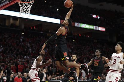 Maryland forward Donta Scott dunks against Indiana on Saturday, Jan. 4, 2020, in College Park.