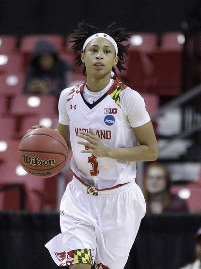Maryland guard Brene Moseley drives the ball during an NCAA college basketball game against Iona in the first round of the NCAA tournament, Saturday, March 19, 2016, in College Park.