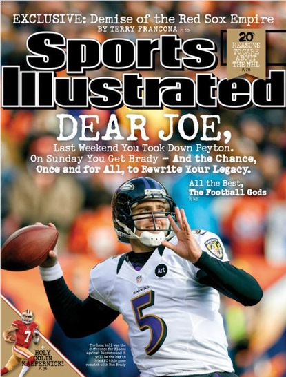 Sports Illustrated magazine -- whose prestigious cover image is perceived to carry a curse -- features Ravens quarterback Joe Flacco in the eastern regional issue dated Jan. 21, just as the team heads to the AFC championship against the New England Patriots.