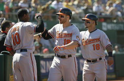Oriolesfirst basemanChris Davis (19) is greeted by his teammates after hitting a grand slam off Oakland Athletics relief pitcher Arnold Leon in the 10th inning Wednesday, Aug. 5, 2015, in Oakland, Calif.