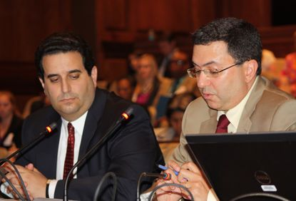 Health Secretary Dr. Joshua Sharfstein (right) and Department of Human Resources Secretary Ted Dallas at a legislative briefing on oversight of group homes.