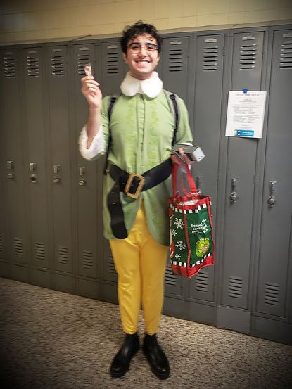 """Alex Mungo plays Buddy the Elf in the Dulaney Theatre Company production of """"""""Elf the Musical JR."""" The performances are scheduled for Dec. 5-7 in the Dulaney High School auditorium."""