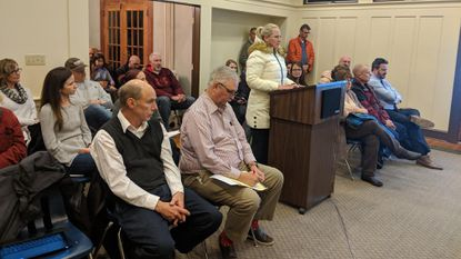 Jennie Rogers speaks at the Sykesville Mayor & Town Council public hearing on 714 Sandosky Road on Jan. 14, 2019 at the Sykesville Town House.