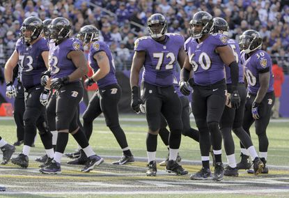 The Ravens offensive line during the second quarter.