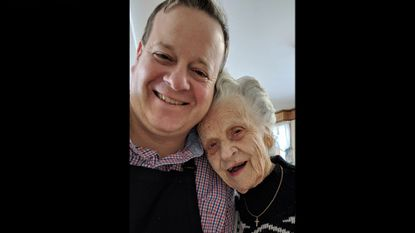 Eric Helm, left and Mrs. Thelma Coleman at a church supper at Frizzellburg Bible Church in May 2018. Mrs. Coleman, known as the Mayor of Frizzellburg, died at 100 years of age on Oct. 12.